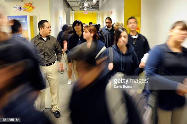 Students in the hallway between classes at Oscar De La Hoya Animo Charter school in East LA The school is part of the Green Dot charter school system