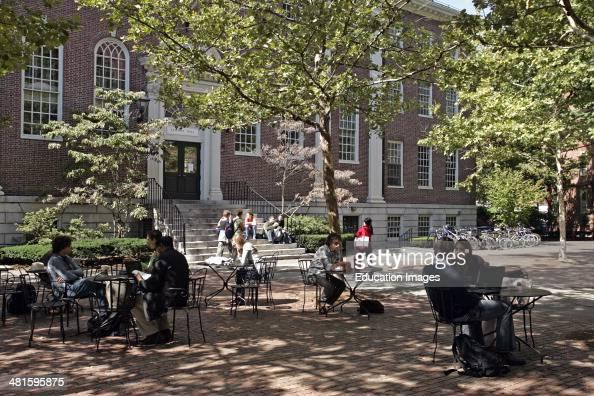 Students in the Harvard Yard Cambridge Boston