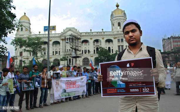 Students Islamic Organisation of India or SIO supporters during a peaceful protest gathering against Israel who are controlling the Al Aqsa Mosque in...