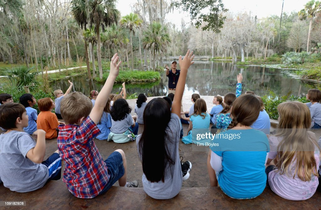 Students learn about water and the environment at WaterVentures, Florida's Learning Lab at Crystal Springs Preserve in partnership with Zephyrhills 100% Natural Spring Water on January 9, 2013 in Crystal Springs, Florida.