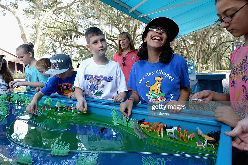 Students learn about water and the environment at WaterVentures, Florida's Learning Lab at Crystal Springs Preserve in partnership with Zephyrhills Brand 100% Natural Spring Water on January 9, 2013 in Crystal Springs, Florida.