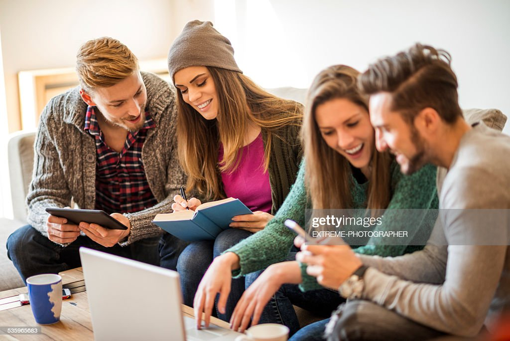 Students learning together : Stock Photo
