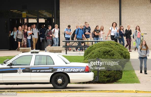 Students leave Arapahoe High School during their lunch break October 10 2014 Arapahoe County Sheriff plans to releasing final details about the...