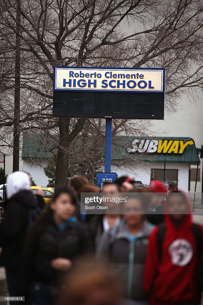 Students leave Roberto Clemente High school on February 18, 2013 in Chicago, Illinois. Frances Colon, who was shot and killed on February 15, became the third student from Clemente High School, a Westside school with less than 800 students, to be murdered in the past three months. Colon was the 51st person murdered in Chicago in 2013.