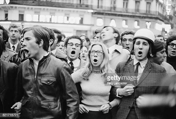 Students link arms during civil unrest in Paris France 30th May 1968