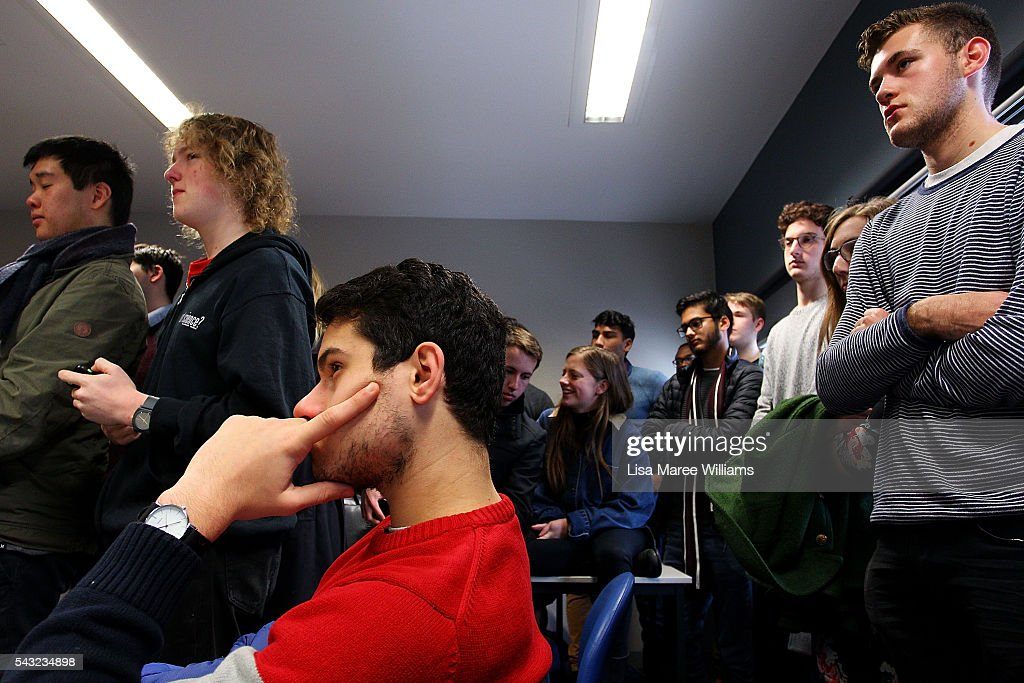 Students look on as Opposition Leader, Australian Labor Party <a gi-track='captionPersonalityLinkClicked' href=/galleries/search?phrase=Bill+Shorten&family=editorial&specificpeople=606712 ng-click='$event.stopPropagation()'>Bill Shorten</a> visits Swinburne TAFE on June 27, 2016 in Melbourne, Australia. The latest Newspoll shows the Coalition has pulled ahead of the Labor Party, less than a week out from the July 2 election. On a two-party preferred basis, the Coalition now leads Labor 51-49, breaking the deadlock from the last poll.