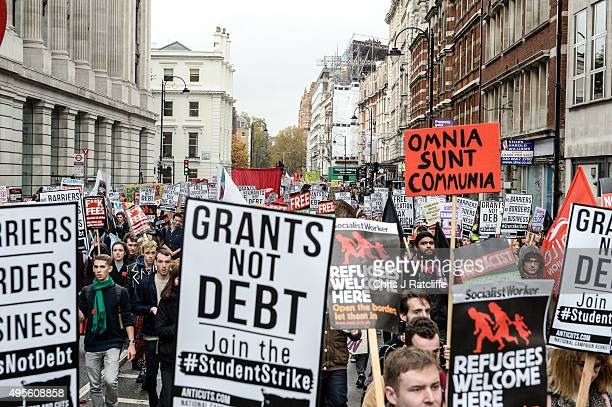 Students march during a demonstration against education cuts on November 4 2015 in London England University students from across the country are...