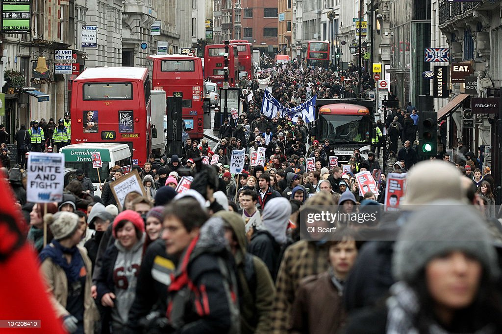 Students march through Fleet Street as they take part in a protest over the Government's budget cuts and proposed rise in tuition fees on November 30, 2010 in London, England. Hundreds of students evaded police containment tactics and marched throughout Westminster and the City of London from Trafalgar Square in the third major protest of its kind in London in as many weeks.