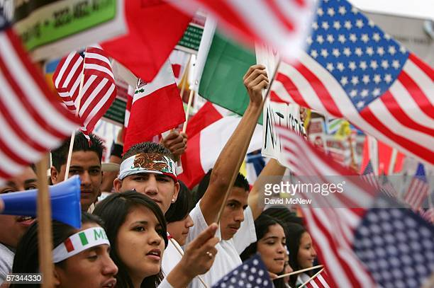 Students march to call for amnesty for illegal immigrants on April 15 2006 in Los Angeles California The 3000 people who marched through downtown to...
