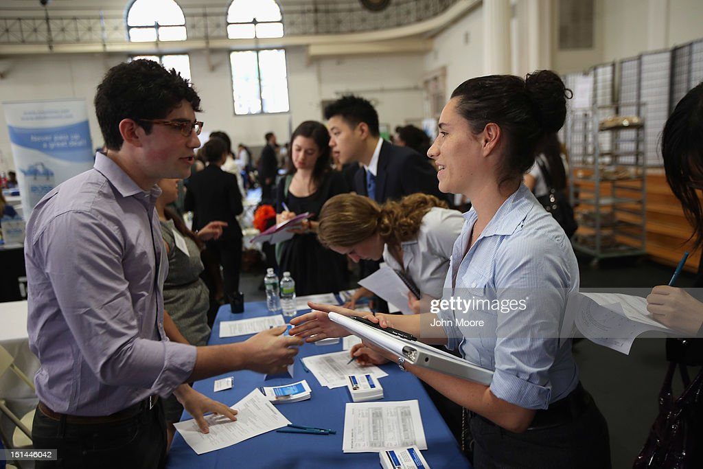 Students meet with potential employers at the Barnard College Career Fair on September 7, 2012 in New York City. Barnard, which is the undergraduate women's college of Columbia University, hosted the job and internship fair with nearly 100 companies and organizations meeting with hundreds of Barnard and Columbia students looking for work.
