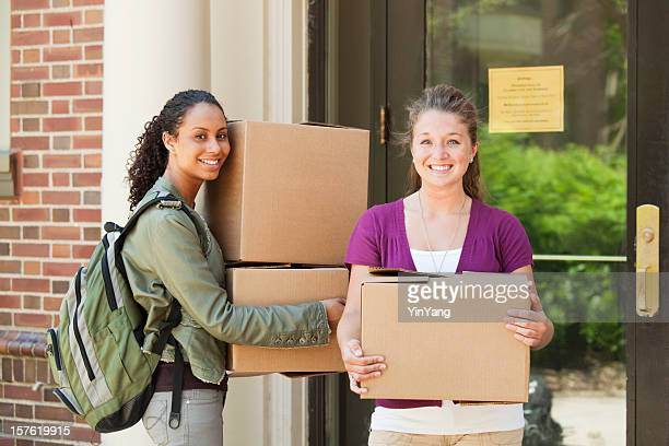 Students Moving Boxes in College Dorm Apartment on University Campus