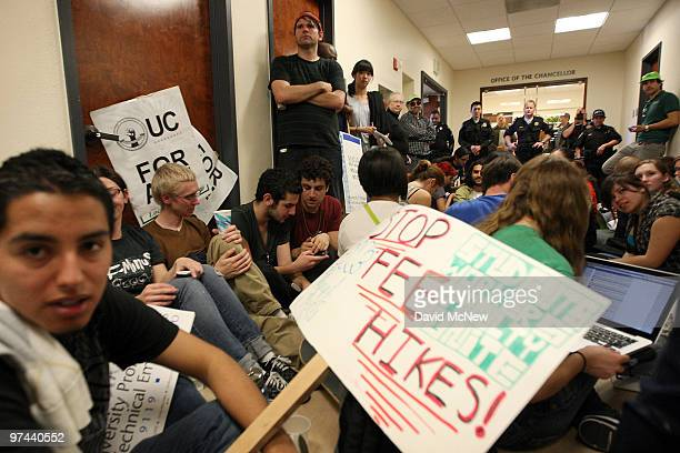 Students occupy the hallway outside the office of the university chancellor at University of California Los Angeles to protest education funding cuts...