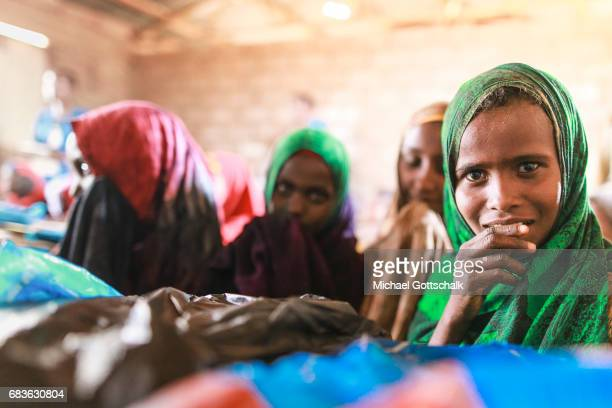 Students of a primary school in a village in the Somali region of Ethiopia where Pastorale settled because of the persistent drought on April 03 2017...