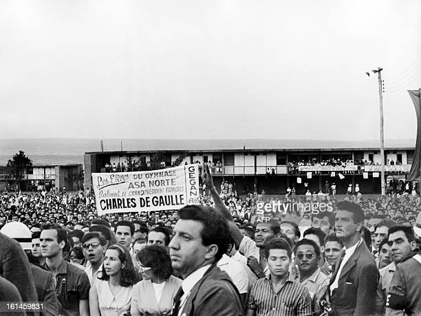 Students of Brasilia university welcome French president General Charles de Gaulle on October 13 1964 during his official visit in Brazil Charles de...