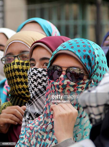 Students of Cairo University march during an anticoup protest in Cairo Egypt on November 11 2014