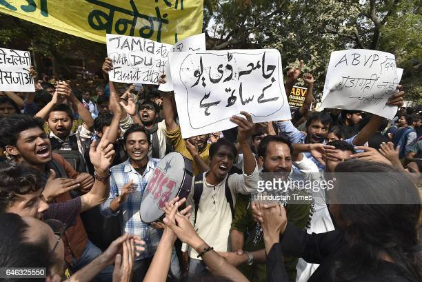 Students of different Unions shout slogans during the AISA JNUTA and Delhi University Students' protest march against ABVP wing after 22nd February...