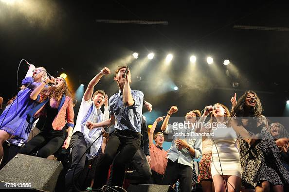 Students of GRAMMY Camp LA perform at the launch party at the El Rey Theatre on June 28 2015 in Los Angeles California