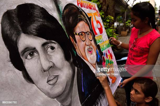 Students of Gurukul School of Art wish and celebrate birthdays of Bollywood actress Rekha and Amitabh Bachchan respectively at on October 10 2017 in...