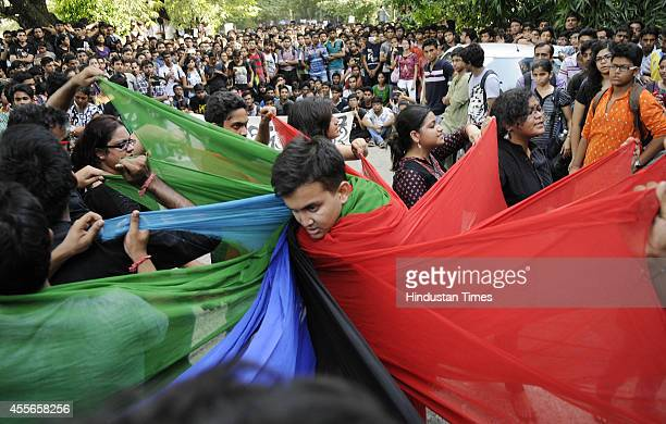 Students of Jadavpur University organize a protest against the lathicharge by the police on students inside the JU campus and demanding the...