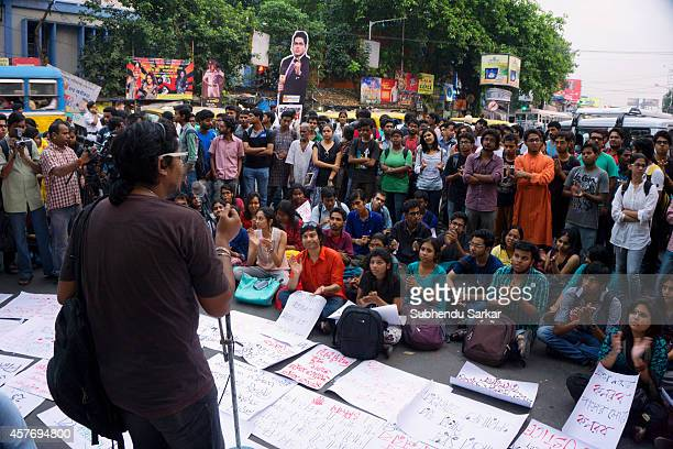 Students of Jadavpur University protest and continue demanding the Vice Chancellor's resignation in the wake of the police brutality on the campus on...