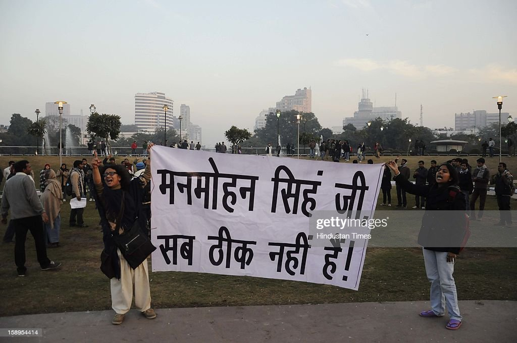 Students of JNU protest against the brutal rape and killing of a 23 year old girl in a moving bus at Central Park, Connaught Place in New Delhi on January 4, 2013.