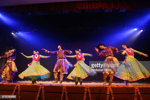 Students of Kathak exponent Shovana Narayan perform during the Kathak show organised to celebrate World Dance Day on May 2 2017 in New Delhi India