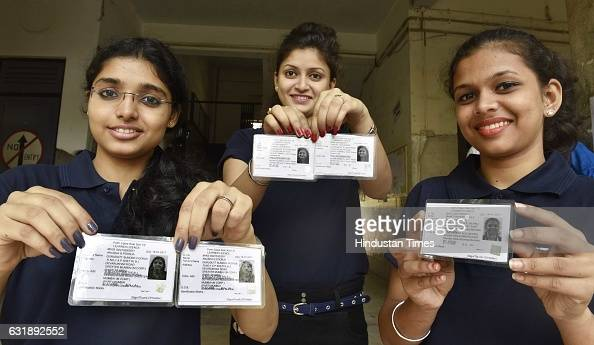 Students of Kirti College display their new learning driving license distributed at college by RTO officers as new project started by State Transport...