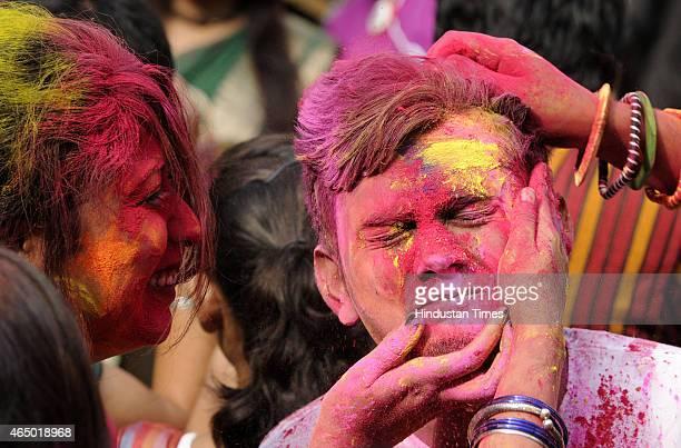 Students of Rabindra Bharati University playing colors during 'Holi' celebrations at Jorasanko Thakur Bari on March 1 2015 in Kolkata India Holi is...