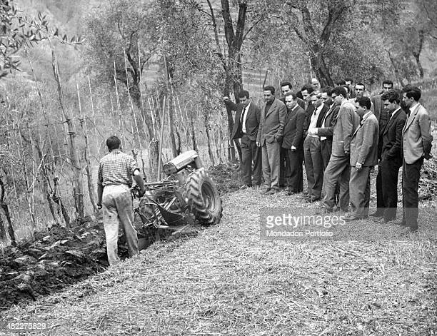 Students of Shell Agricultural Research Centre attending practice exercises of mechanization Borgo a Mozzano 1960s