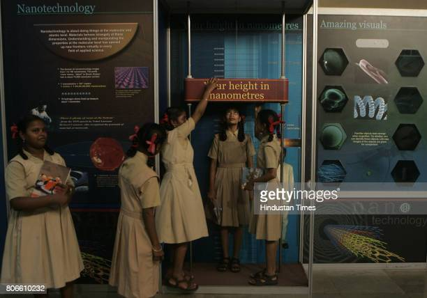 Students of Shri Govind Balmandir Secondary School Andheri East checks there height in Nanometers on inaugural day of a travelling exhibition on Nano...