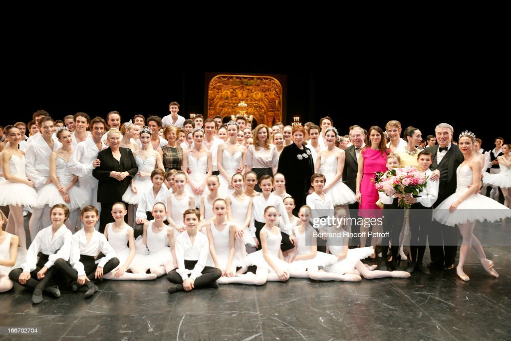 Students of the Dance School and Star Dancers of Opera de Paris Benjamin Pech, Marie Agnes Gillot, Aurelie Dupont and Agnes letestu With Claude Bessy, Miss Jean-Marc Ayrault, Valerie Trierweiler, Dance Director of the 'Opera de Paris' Brigitte Lefevre, President of Opera de Paris Bernard Stirn, Aurelie Filippetti, Director of School Dance of Opera de Paris Elisabeth Platel (in yellow) and New General Director of 'Opera de Paris' Stephane Lissner on stage while Tricentenary of the French dance school, AROP Gala, at Opera Garnier on April 15, 2013 in Paris, France.