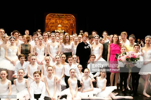 Students of the Dance School and Star Dancers of Opera de Paris Benjamin Pech Marie Agnes Gillot Aurelie Dupont and Agnes letestu With Miss JeanMarc...