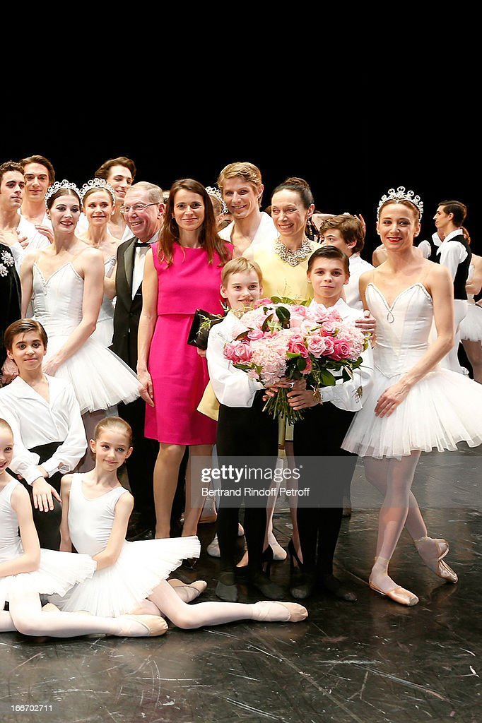 Students of the Dance School and Star Dancers of Opera de Paris with President of Opera de Paris Bernard Stirn, <a gi-track='captionPersonalityLinkClicked' href=/galleries/search?phrase=Aurelie+Filippetti&family=editorial&specificpeople=4273748 ng-click='$event.stopPropagation()'>Aurelie Filippetti</a> and Director of School Dance of Opera de Paris Elisabeth Platel (in yellow) on stage while Tricentenary of the French dance school, AROP Gala, at Opera Garnier on April 15, 2013 in Paris, France.