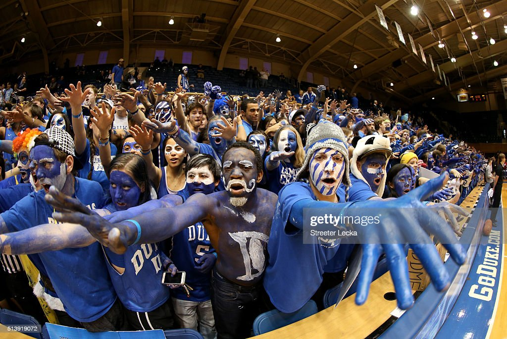 Students of the Duke Blue Devils and Cameron Crazies prepare for their game against the North Carolina Tar Heels at Cameron Indoor Stadium on March 5...