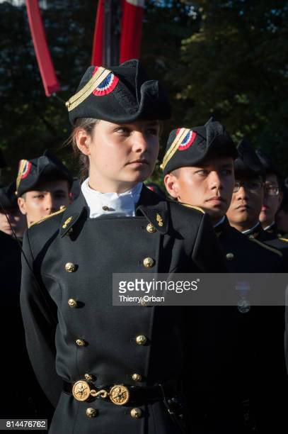 Students of the Ecole polytechnique take part in Friday's Bastille Day celebrations and military parade on the Avenue des ChampsElysees on July 14...