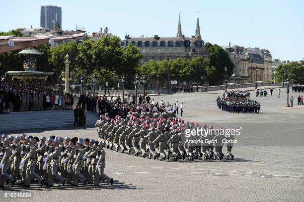 Students of the French Special Military school during the annual Bastille Day militaryon July 14 2017 in Paris France Members of the US Marine Forces...