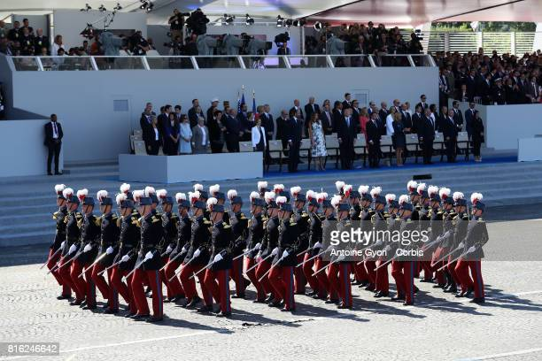 Students of the French Special Military school of Saint Cyr march down the ChampsElysees avenue during the annual Bastille Day militaryon July 14...