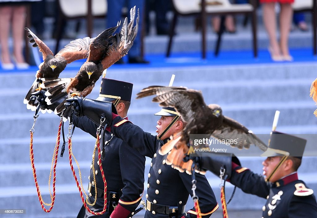 Students of the Mexican military educational institution the Heroic Military Academy march during annual Bastille Day military parade in the Republic...