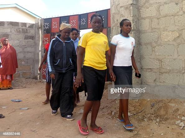 Students of the Moi University leaves after escaping an attack by Somalia's AlQaedalinked Shebab gumen in Garissa on April 2 2015 Shebab gunmen...
