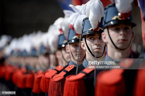 Students of the special military school SaintCyr attend a ceremony as part of a presentation of a 15th century ring believed to have been owned by...