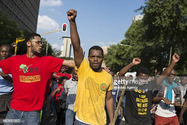 Students of the University of the Witwatersrand gather to protest over the increase in tuition fees in Johannesburg South Africa on October 15 2015