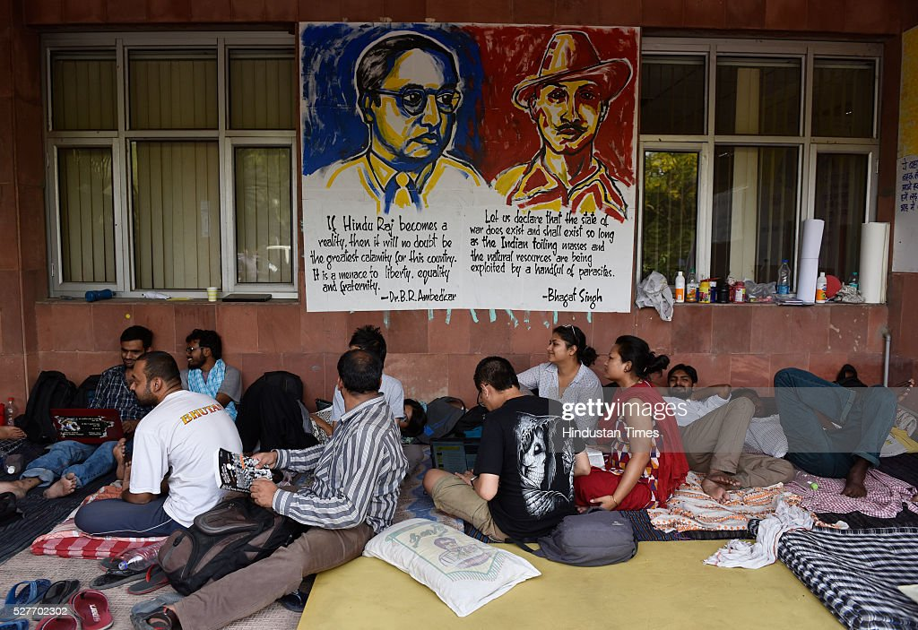 JNU Students on day six of hunger strike protesting punishment given to them by the university authorities on May 3, 2016 in New Delhi, India. Representatives of both factions are sitting on a hunger strike. Students with Left affiliations are on a hunger strike protesting punishment given to them by the university authorities for the February 9 event held to commemorate Parliament attack convict Afzal Guru. Anti-national slogans were allegedly raised at the event. Students of the ABVP faction are on a hunger strike demanding the punishment against students be made more stringent.