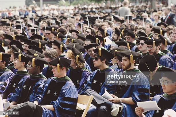 Students on graduation day at New York University New York City USA June 1986