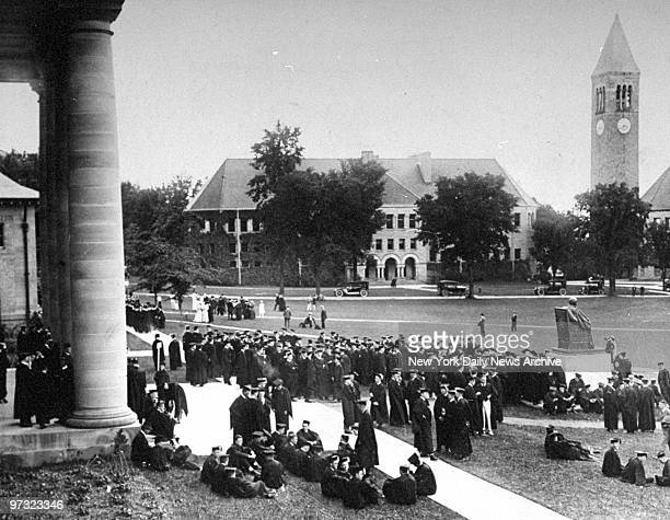 Students on the campus at Cornell University on Class Day