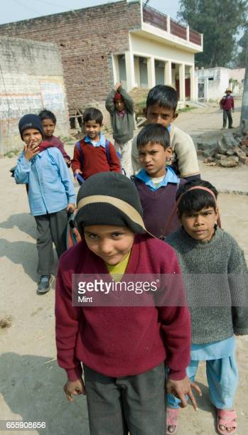 Students outside Govt Sr Sec School of Bazida Zattan Village photographed on February 24 2010 in Karnal India