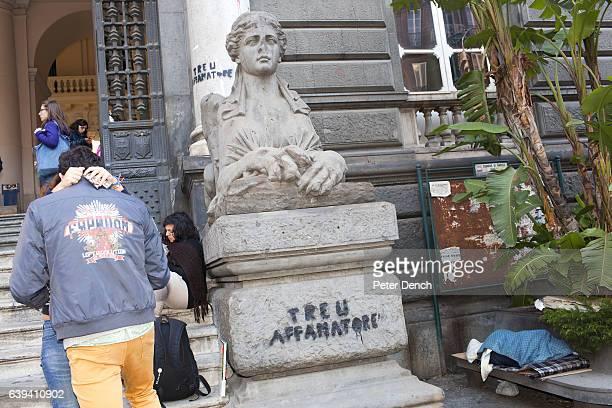 Students outside the Universita Degli Studi di Napoli 'Federico II' on Corso Umberto I in the centre of Naples Naples is a city on the west coast in...