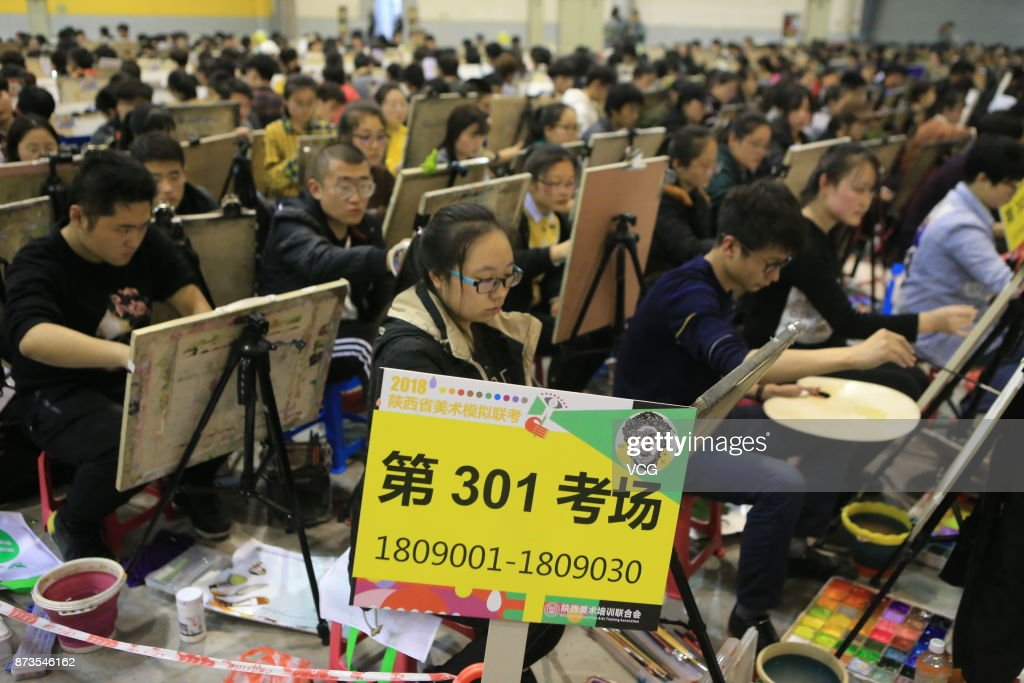 Students participate in a fine arts mock exam at Yanta District on November 13, 2017 in Xi'an, Shaanxi Province of China. More than 10,000 students of Shaanxi Province participated in the exam and the province's official entrance exam for students applying for a fine arts major starts in December.