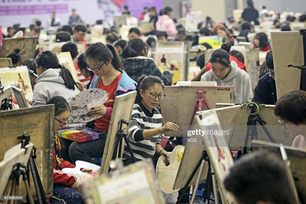 Students participate in a fine arts mock exam at Yanta District on November 13, 2017 in Xi'an, Shaanxi Province of China. More than 10,000 students of Shaanxi Province participated in the exam and the province's official entrance exam for students applying for a fine arts major starts on December.