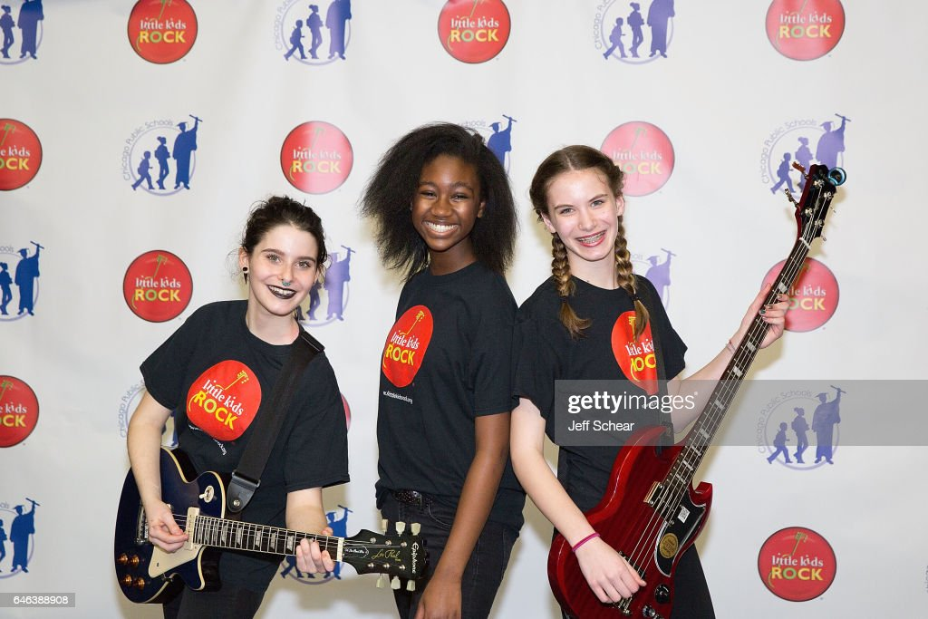 Students perform at Chicago Public School Announces Music Program Expansion With Little Kids Rock at Franklin Fine Arts Center Auditorium on February 28, 2017 in Chicago, Illinois.