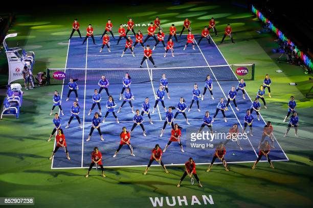 WUHAN CHINA SEPTEMBER Students perform at the opening ceremony of 2017 Wuhan Open on September 24 2017 in Wuhan China